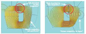 Comparacion de modelos con iman central (izda) y exterior (dcha)